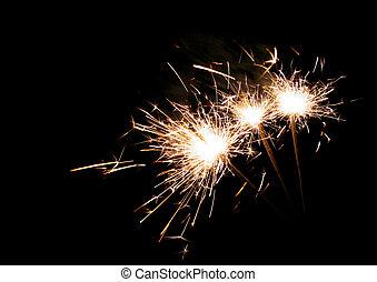 sparklers, três