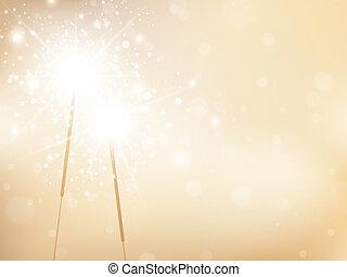 sparklers, vacanza, fondo, dorato