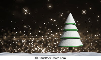 Animation of white sparks of light floating upwards over a stylised Christmas tree covered in snow in a snowy field on a starry night sky background. Winter night Christmas season, digital composite