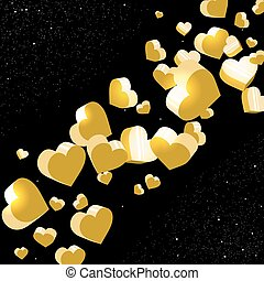 Sparkling abstract golden hearts in the space.