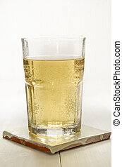 sparkling apple juice in a glass