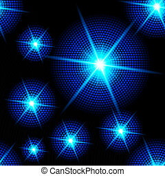 Abstract sparkling background with blue starburst in the dark