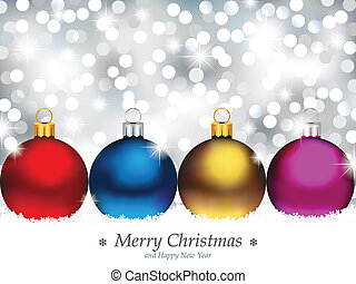 Vector illustration representing four Christmas ornaments in front of de-focused light