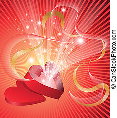 sparkling box - red open box in the shape of a heart from...