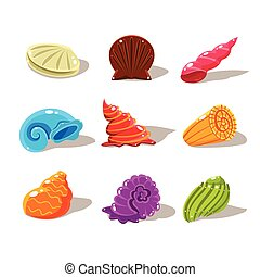 Sparkling Cartoon Sea Shells. Vector Illustration Set