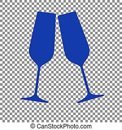 Sparkling champagne glasses. Blue icon on transparent background