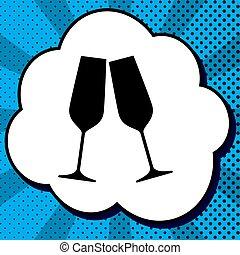 Sparkling champagne glasses. Vector. Black icon in bubble on blu