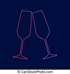 Sparkling champagne glasses. Vector. Line icon with gradient from red to violet colors on dark blue background.