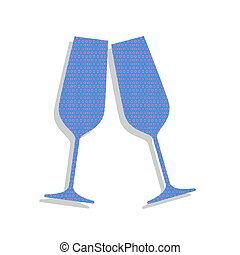 Sparkling champagne glasses. Vector. Neon blue icon with cyclame