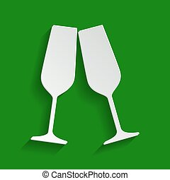 Sparkling champagne glasses. Vector. Paper whitish icon with soft shadow on green background.