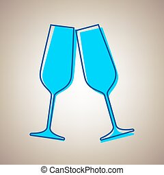 Sparkling champagne glasses. Vector. Sky blue icon with defected blue contour on beige background.