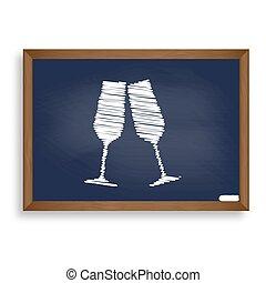 Sparkling champagne glasses. White chalk icon on blue school boa