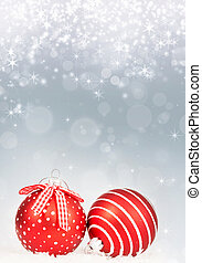 Sparkling Christmas background with red Christmas balls