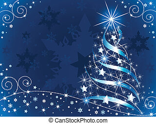 Vector illustration of an abstract shining Christmas tree with lots of little sparkling stars