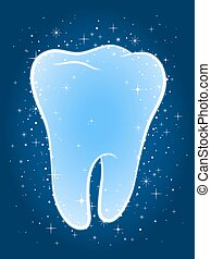 Sparkling clean blue tooth with twinkling stars - Sparkling...