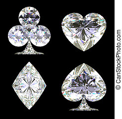 Sparkling Diamond shaped Card Suits isolated over black
