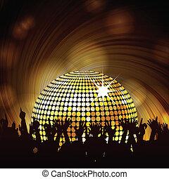 sparkling disco ball and crowd - Sparkling gold disco ball...