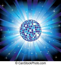 Sparkling disco ball on blue light burst and glitter stars