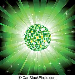 Sparkling disco ball on green light burst and glitter stars