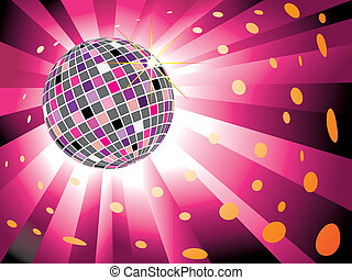 Sparkling disco ball on magenta light burst background