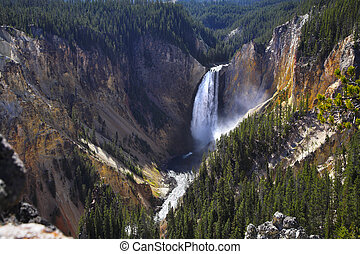 Sparkling falls in a canyon of Yellowstone national park....