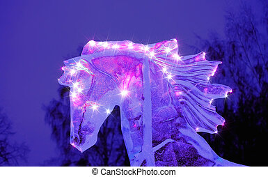 Sparkling figure ice horse head with flying mane.