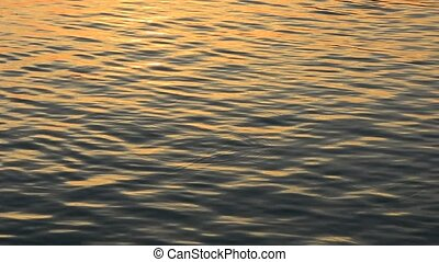 Sparkling fresh wavy water is shining on a sunset summer...