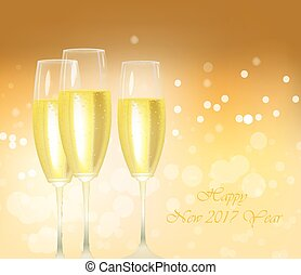 Sparkling gold champagne glasses