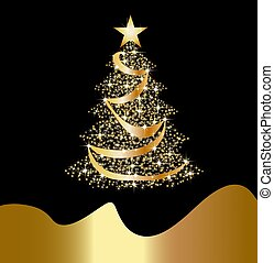 sparkling golden christmas tree - illustration of a...