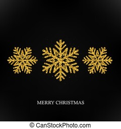 Sparkling golden snowflake with glitter texture for Christmas, New Year greeting card. Vector black background, winter snowflake