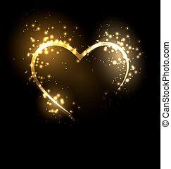 Sparkling heart on black