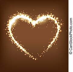 Sparkling heart on brown