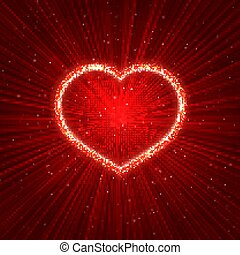 Sparkling heart on red abstract glowing background