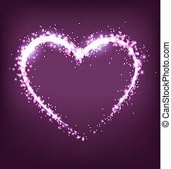 Sparkling heart on violet