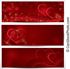 Sparkling hearts banners vector