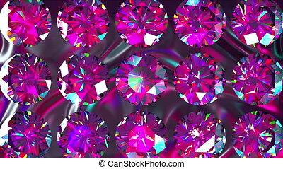 Sparkling iridescent diamonds of fancy round cut style, ...