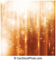 Light effects, blurry light dots and stars on a warm golden background for your Christmas design.