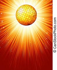 Sparkling orange red disco ball. EPS 8