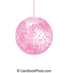 Sparkling pink disco ball isolated on a white background,...