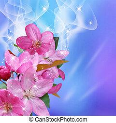 Sparkling sakura with smoke