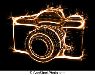 Sparkling silhouette of photocamera - Abstract sparkling...