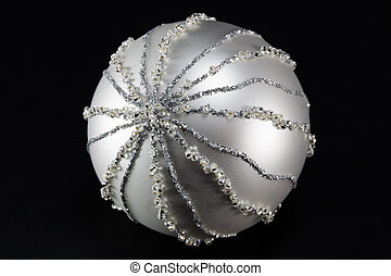 sparkling silvery christmas ball, tree decoration -...