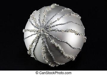 sparkling silvery christmas ball, tree decoration -...