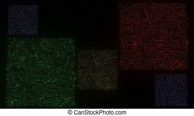 Sparkling squares on black background, square areas composed...