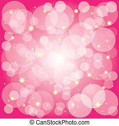 Sparkling stars bubbles on magenta background