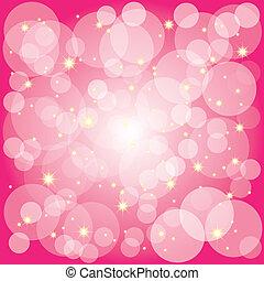 Sparkling stars bubbles on magenta background