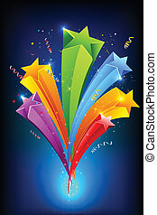 Sparkling Stars - illustration of colorful stars on abstract...