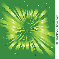 Sparkling stars on green ray