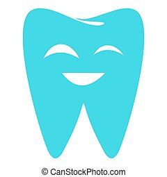 Sparkling tooth icon, flat style.