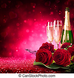 sparkling valentine%u2019s day with champagne and roses